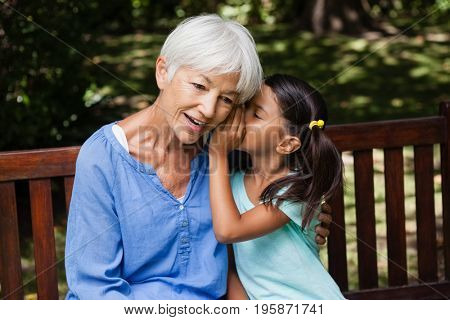 Girl whispering in ears of grandmother while sitting on wooden bench at backyard