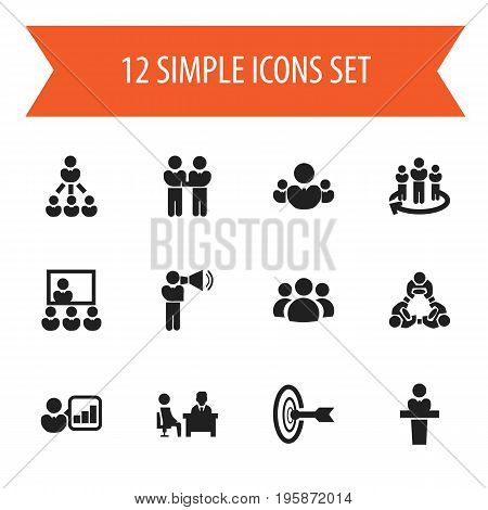 Set Of 12 Editable Cooperation Icons. Includes Symbols Such As Group, Agreement, Team And More