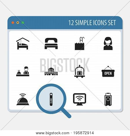 Set Of 12 Editable Hotel Icons. Includes Symbols Such As Trolley, Pool, Wireless Tv And More
