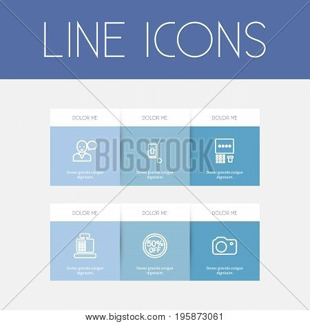 Set Of 6 Editable Shopping Outline Icons. Includes Symbols Such As Hand Cart, Speaking Man, Till