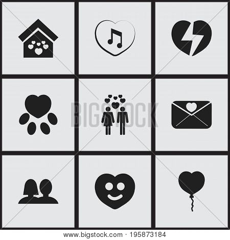 Set Of 9 Editable Love Icons. Includes Symbols Such As Happy, Domicile, Affection Letter And More
