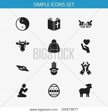 Set Of 12 Editable Religion Icons. Includes Symbols Such As Sacrifice Sheep, Candlestick, Jewish