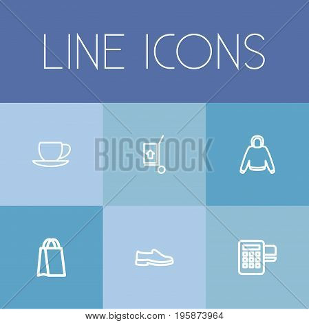 Set Of 6 Editable Shopping Outline Icons. Includes Symbols Such As Coffee Cup, Hoodie, Shoes And More
