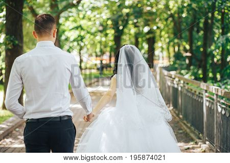 A beautiful bride leading the groom in the park behind her. follow me