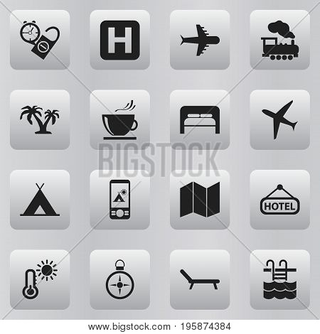 Set Of 16 Editable Journey Icons. Includes Symbols Such As Helipad, Rest Time, Sunbathing And More