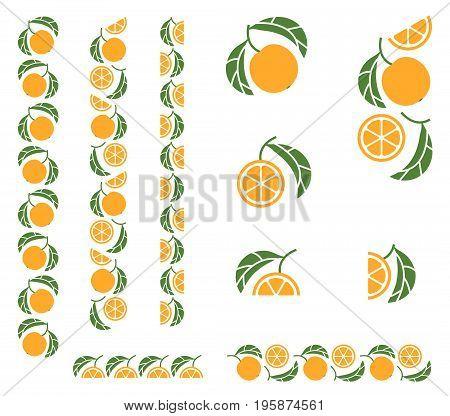 Orange tree branch. Set of colored design elements