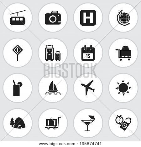 Set Of 16 Editable Holiday Icons. Includes Symbols Such As Tabernacle, Caution, Lemonade And More