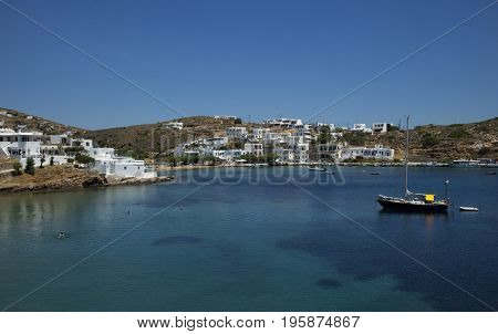 Beautiful view of  Faros, white cycladic village in Sifnos, Greece