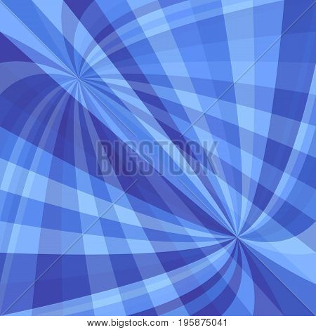 Blue abstract dynamic background - vector design from curved ray stripes