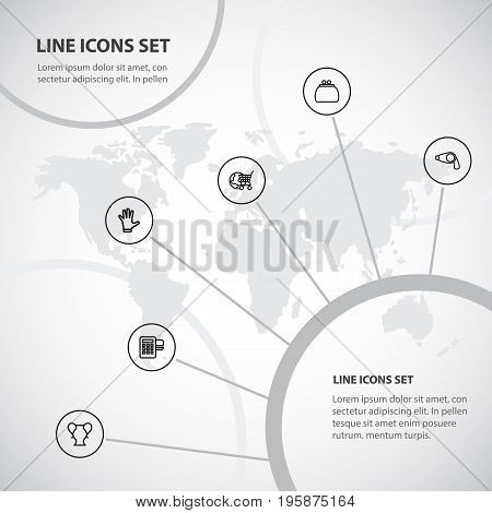 Set Of 6 Editable Trade Outline Icons. Includes Symbols Such As Mitten, Hairdryer, Card Reader And More