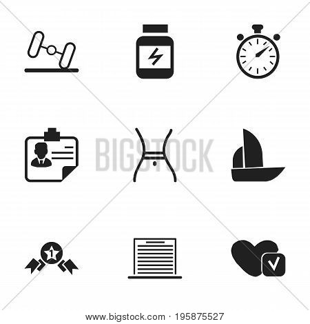 Set Of 9 Editable Complex Icons. Includes Symbols Such As Yacht, Soul, Identification And More