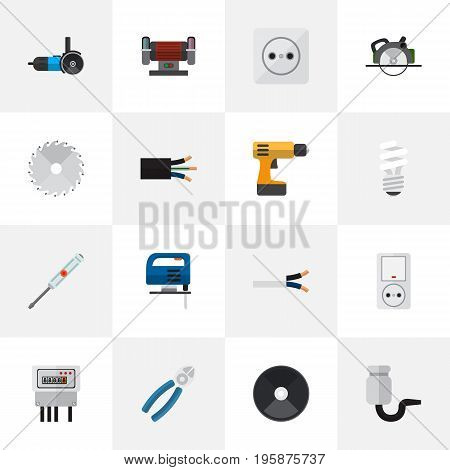 Set Of 16 Editable Electrical Flat Icons. Includes Symbols Such As Wire, Isolator, Pound And More