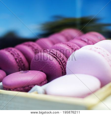 Set of different french pink cookies macaroons