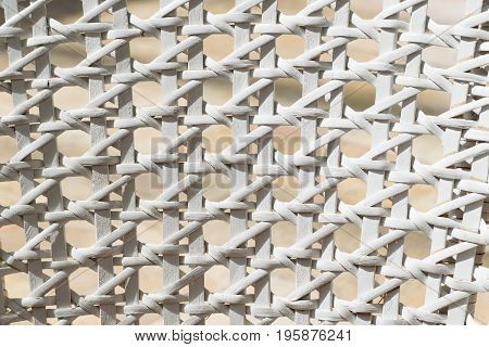 White wicker backrest. Close up texture. Background.