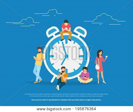 Alarm clock and people concept vector illustration of young people using smartphones for setting up morning alarm app notification. Flat people standing and sitting near big clock symbol