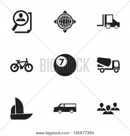 Set Of 9 Editable Complicated Icons. Includes Symbols Such As Group, Lorry, Auto And More