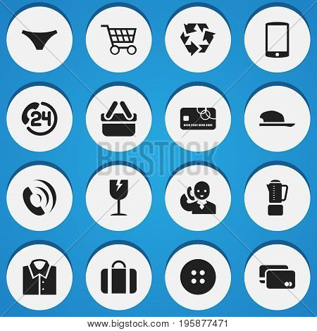 Set Of 16 Editable Trade Icons. Includes Symbols Such As Cracked Mug, Credit Card, Backing Call And More