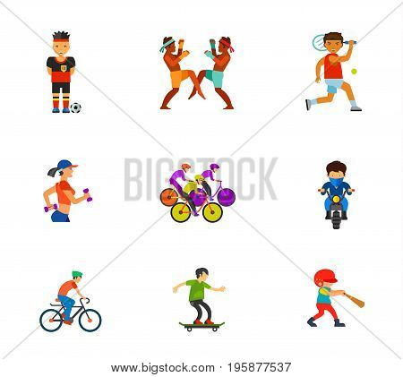 Athletes icon set. Football player Thai boxers Tennis player Woman jogging Cycling competition Biker Riding bicycle Skateboarder Baseball player