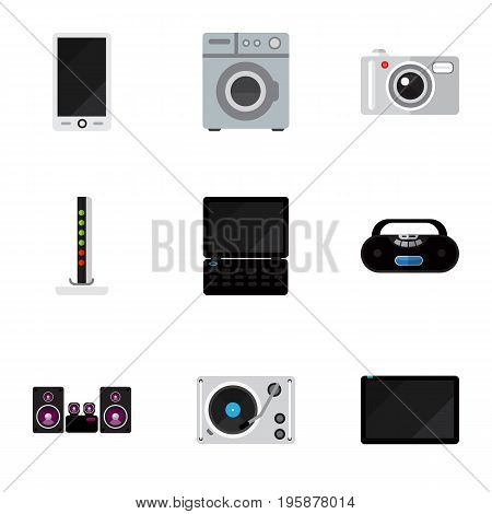 Set Of 9 Editable Home Flat Icons. Includes Symbols Such As Cassette Player, Palmtop, Notebook And More