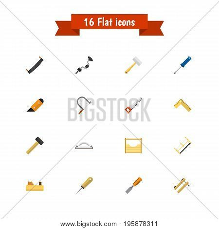Set Of 16 Editable Instrument Flat Icons. Includes Symbols Such As Tool, Turn-Screw, Bit And More