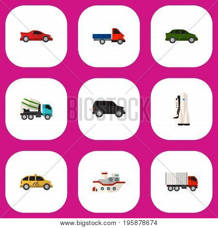 Set Of 9 Editable Vehicle Flat Icons. Includes Symbols Such As Cab, Boat, Carriage And More