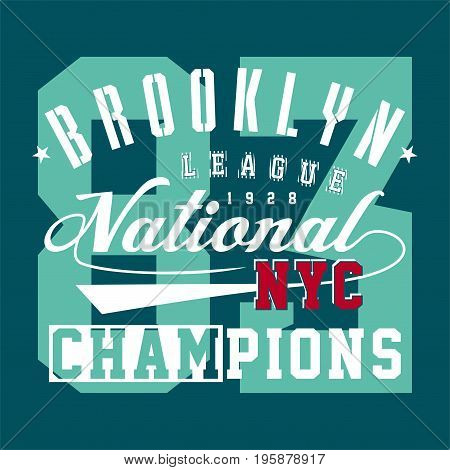 graphic design brooklyn league national for shirt and print