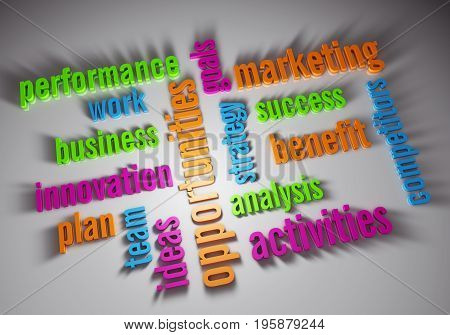 Business plan words - 3D rendering illustration