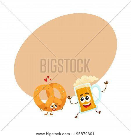 Happy aluminium beer mug and salty pretzel characters having fun together, cartoon vector illustration with space for text. Funny smiling beer mug and pretzel characters, good company