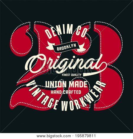 graphic design denim brooklyn original for shirt and print