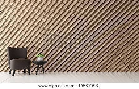 Modern contemporary living room interior 3d rendering image.There are decorate wall with wooden lath and install it tilt.furnished with dark brown leather chairs.