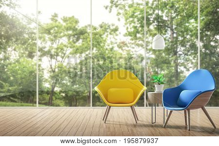Modern living room with blurry background 3d rendering imageThere are a wooden floor. Large windows overlook the garden. Decorated with yellow and blue chairs.