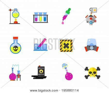 Chemistry icon set. Chemical burner Test tube Dropper Poison Litmus Gas mask Chemical reaction Chemical experiment Harmful substance symbol. Contains bonus of Engine motor oil Oil barrel Danger symbol