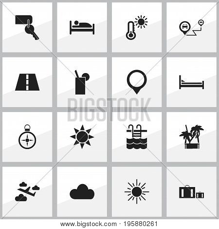 Set Of 16 Editable Holiday Icons. Includes Symbols Such As Path, Briefcase, Sun And More