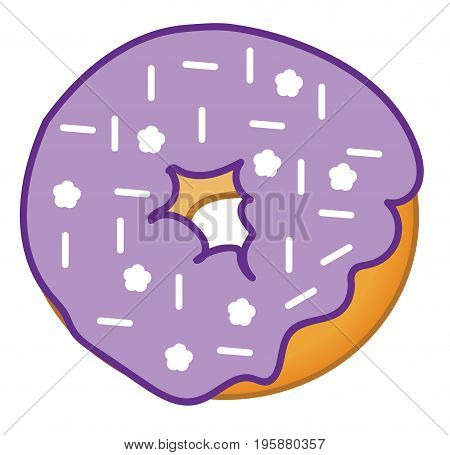 Isolated Yummy Purple Frosted Tasty Sweet Donut
