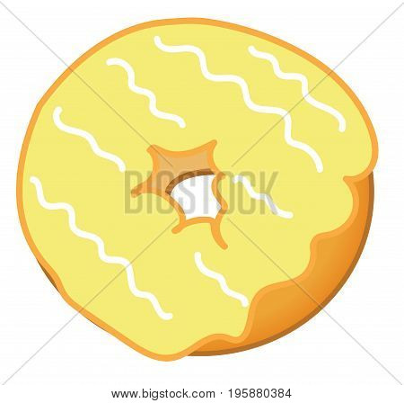 Isolated Yummy Yellow Frosted Tasty Sweet Donut