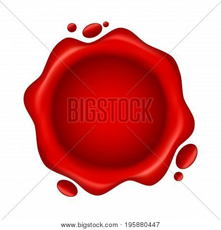 Red Wax Seal With Small Drops Isolated On White Background