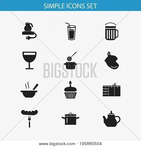 Set Of 12 Editable Cook Icons. Includes Symbols Such As Ale, Wineglass, Potholder And More