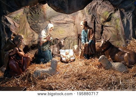 ZAGREB, CROATIA - DECEMBER 28: Nativity Scene, Christmas creches in the Basilica of the Sacred Heart in Zagreb, on December 28, 2015.