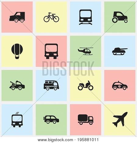 Set Of 16 Editable Shipment Icons. Includes Symbols Such As Weapon, Aircraft, Wagon And More