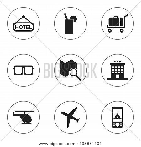 Set Of 9 Editable Journey Icons. Includes Symbols Such As Luxury Inn, Eyeglasses, Position Search And More
