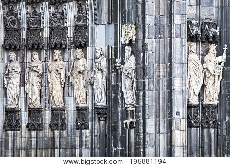 Exterior statues of Cologne cathedral of Saint Peter and Mary