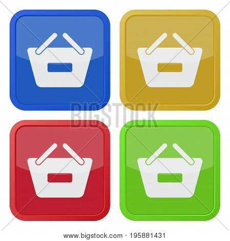 set of four square colored buttons and icons shopping basket minus
