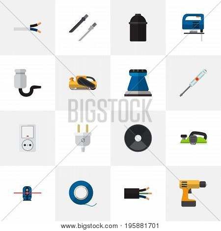 Set Of 16 Editable Instruments Flat Icons. Includes Symbols Such As Jack , Sandblast, Outlet