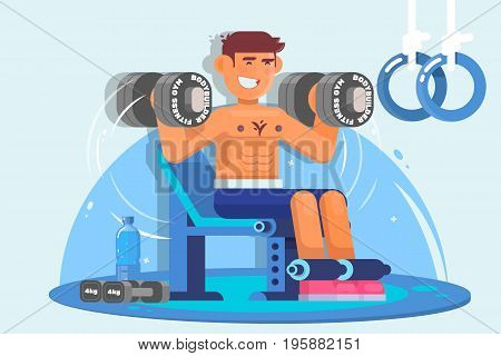 Weightlifter training with dumbbell. Flat vector illustration