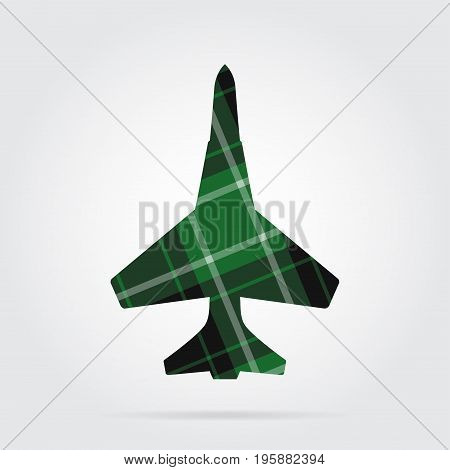 green black isolated tartan icon with white stripes - fighter and shadow in front of a gray background