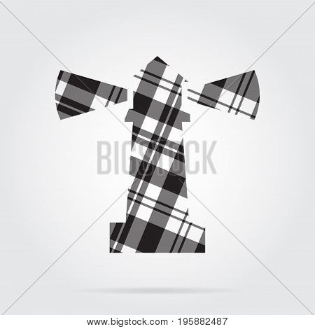 grayscale gray black isolated tartan icon with white stripes - lighthouse and shadow in front of a gray background