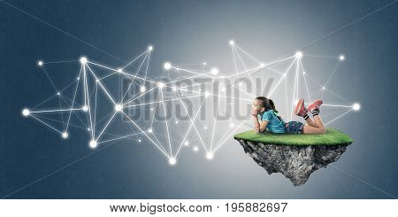Cute kid girl on floating island and social connection concept