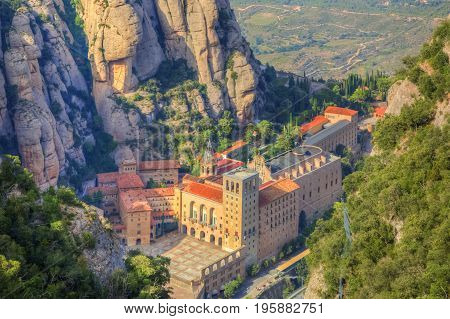 Aerial view of the monastery Santa Maria de Montserrat located in Montserrat Mountain in Catalonia Spain.