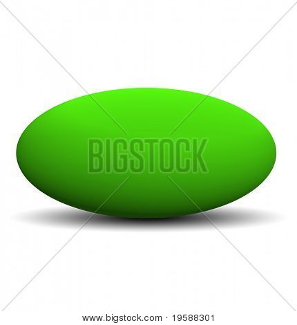 High resolution 3d green ovoid isolated on white,ideal for 3D symbols, web buttons or logo designs