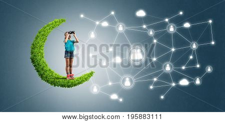 Cute kid girl with binocularss on green moon and social connection concept